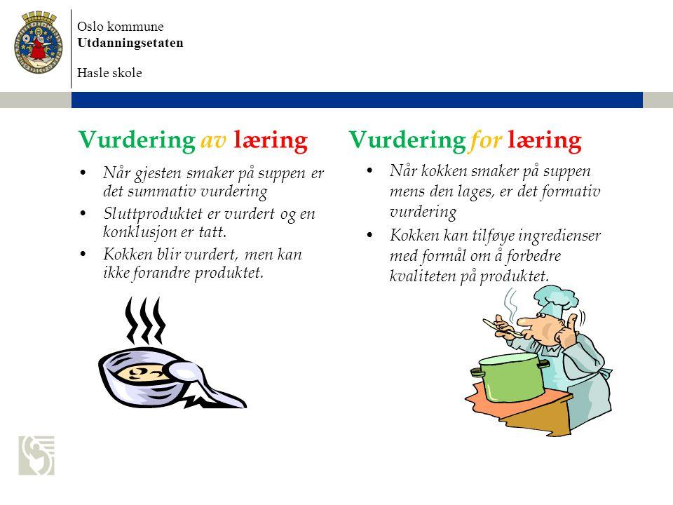 Oslo kommune Utdanningsetaten Hasle skole Vurdering av læring • Når gjesten smaker på suppen er det summativ vurdering • Sluttproduktet er vurdert og en konklusjon er tatt.