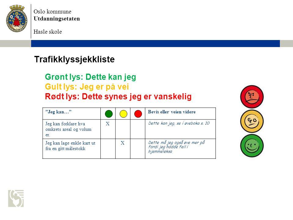 Oslo kommune Utdanningsetaten Hasle skole Trafikklyssjekkliste Grønt lys: Dette kan jeg Gult lys: Jeg er på vei Rødt lys: Dette synes jeg er vanskelig Jeg kan… Bevis eller veien videre Jeg kan forklare hva omkrets areal og volum er.