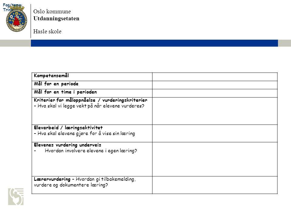 Oslo kommune Utdanningsetaten Hasle skole Kompetansemål Mål for en periode Mål for en time i perioden Kriterier for måloppnåelse / vurderingskriterier – Hva skal vi legge vekt på når elevene vurderes.