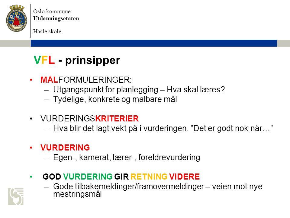 Oslo kommune Utdanningsetaten Hasle skole VFL - prinsipper •MÅLFORMULERINGER: –Utgangspunkt for planlegging – Hva skal læres.