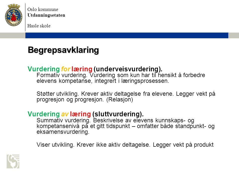 Oslo kommune Utdanningsetaten Hasle skole Begrepsavklaring Vurdering for læring (underveisvurdering).