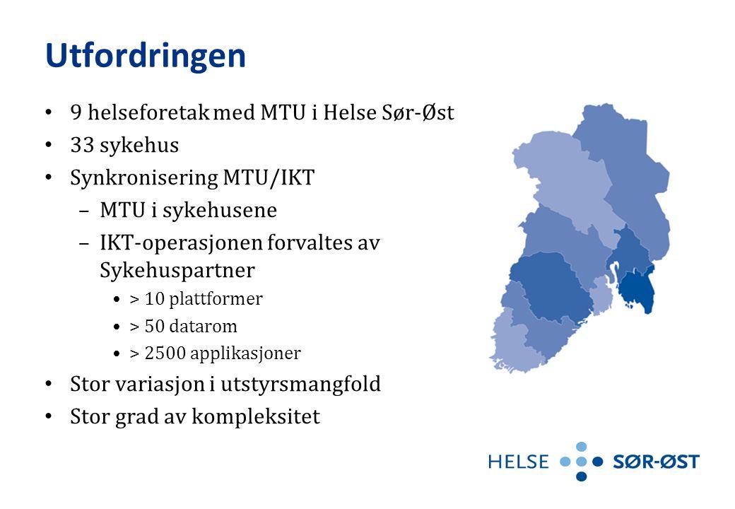Utfordringen • 9 helseforetak med MTU i Helse Sør-Øst • 33 sykehus • Synkronisering MTU/IKT –MTU i sykehusene –IKT-operasjonen forvaltes av Sykehuspar
