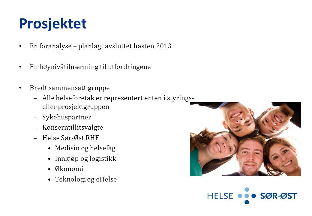 Prosjektet • En foranalyse – planlagt avsluttet høsten 2013 • En høynivåtilnærming til utfordringene • Bredt sammensatt gruppe –Alle helseforetak er r