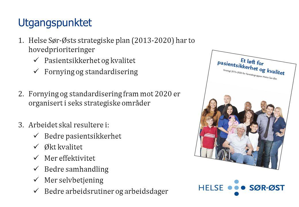 Utgangspunktet 1.Helse Sør-Østs strategiske plan (2013-2020) har to hovedprioriteringer  Pasientsikkerhet og kvalitet  Fornying og standardisering 2
