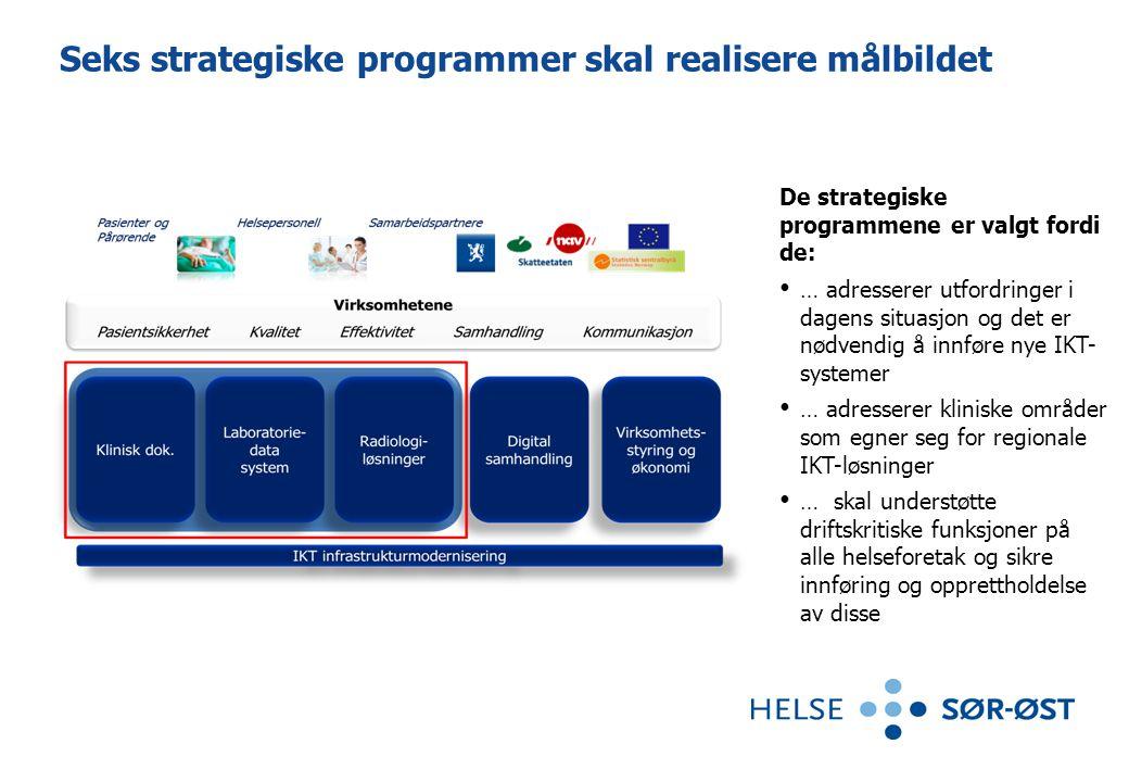 Seks strategiske programmer skal realisere målbildet De strategiske programmene er valgt fordi de: • … adresserer utfordringer i dagens situasjon og d