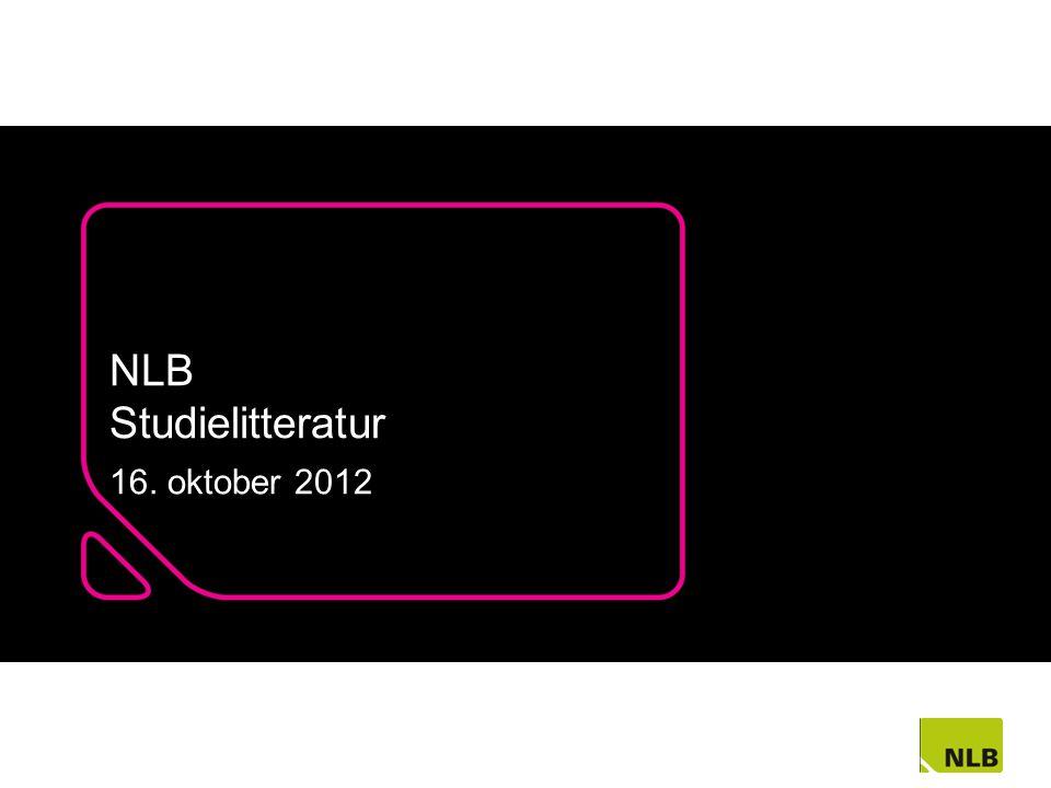 NLB Studielitteratur 16. oktober 2012