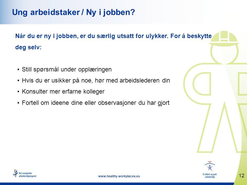 12 www.healthy-workplaces.eu Ung arbeidstaker / Ny i jobben.