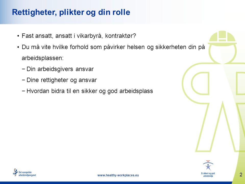 2 www.healthy-workplaces.eu Rettigheter, plikter og din rolle •Fast ansatt, ansatt i vikarbyrå, kontraktør.