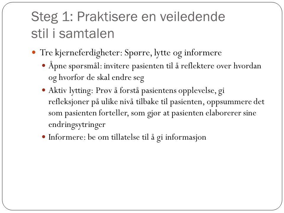 Steg 1: Praktisere en veiledende stil i samtalen  Tre kjerneferdigheter: Spørre, lytte og informere  Åpne spørsmål: invitere pasienten til å reflekt
