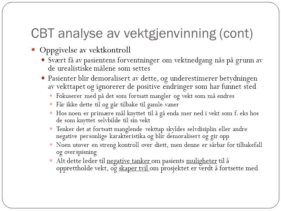 CBT analyse av vektgjenvinning (cont)  Oppgivelse av vektkontroll  Svært få av pasientens forventninger om vektnedgang nås på grunn av de urealistis