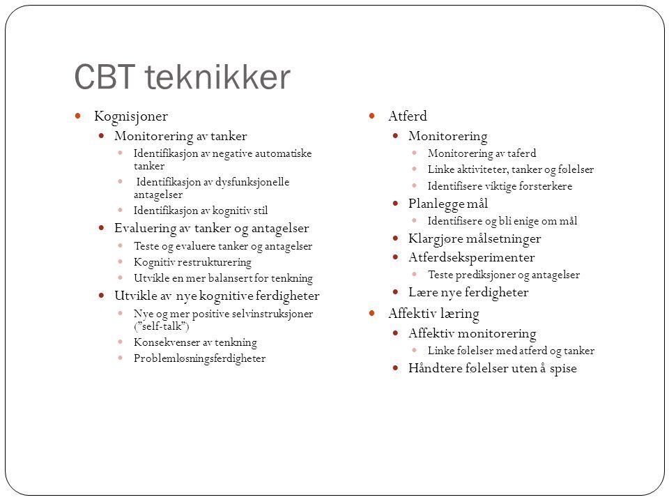CBT teknikker  Kognisjoner  Monitorering av tanker  Identifikasjon av negative automatiske tanker  Identifikasjon av dysfunksjonelle antagelser 
