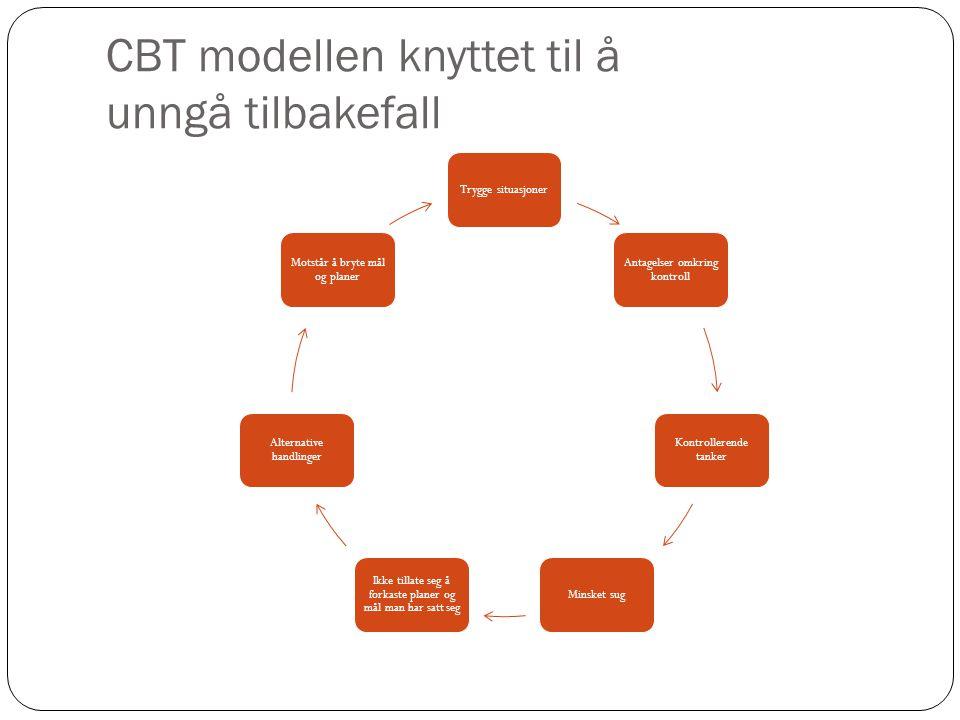 CBT modellen knyttet til å unngå tilbakefall Trygge situasjoner Antagelser omkring kontroll Kontrollerende tanker Minsket sug Ikke tillate seg å forka