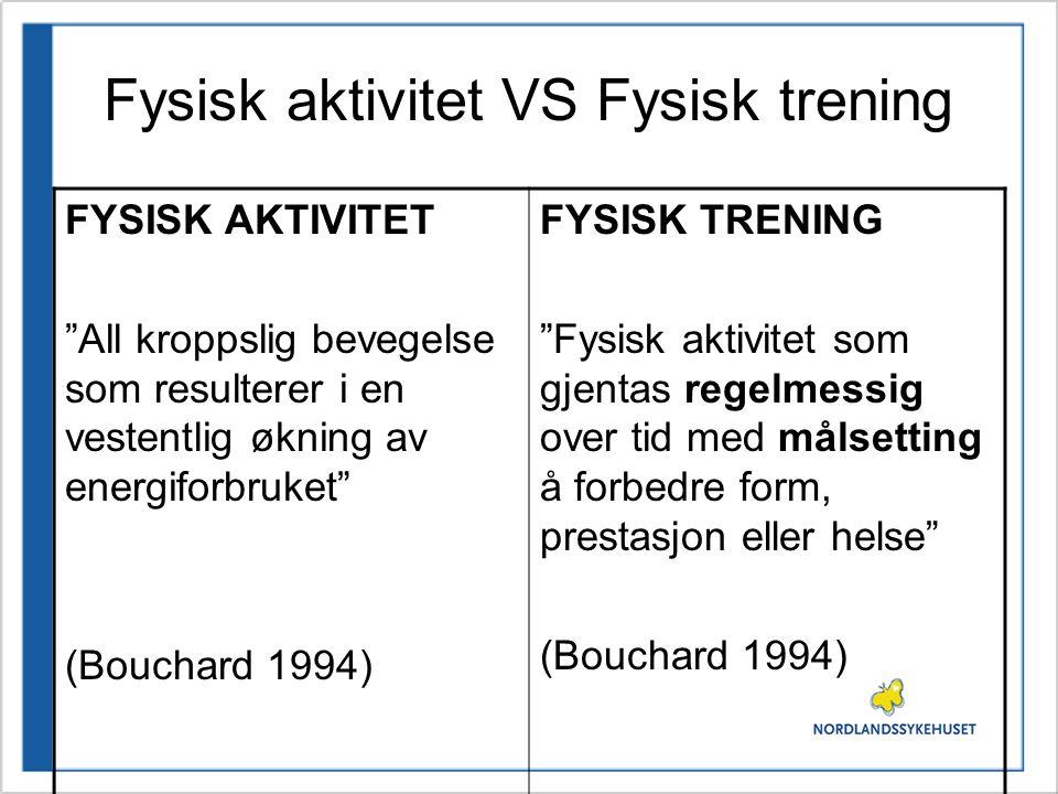 """Fysisk aktivitet VS Fysisk trening FYSISK AKTIVITET """"All kroppslig bevegelse som resulterer i en vestentlig økning av energiforbruket"""" (Bouchard 1994)"""
