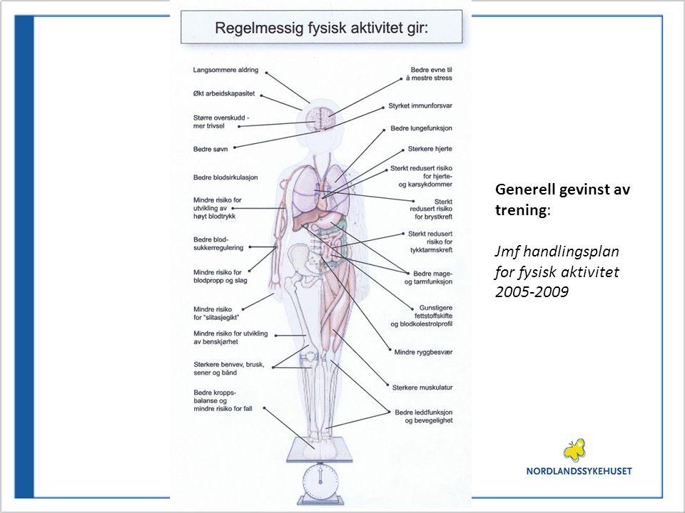 Generell gevinst av trening: Jmf handlingsplan for fysisk aktivitet 2005-2009