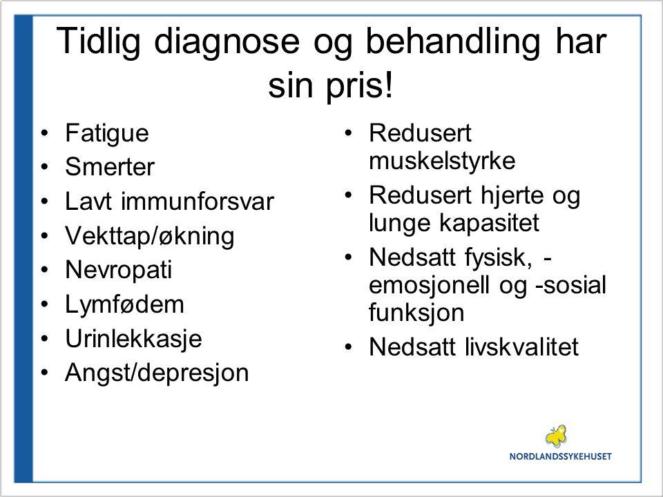 Tidlig diagnose og behandling har sin pris! •Fatigue •Smerter •Lavt immunforsvar •Vekttap/økning •Nevropati •Lymfødem •Urinlekkasje •Angst/depresjon •
