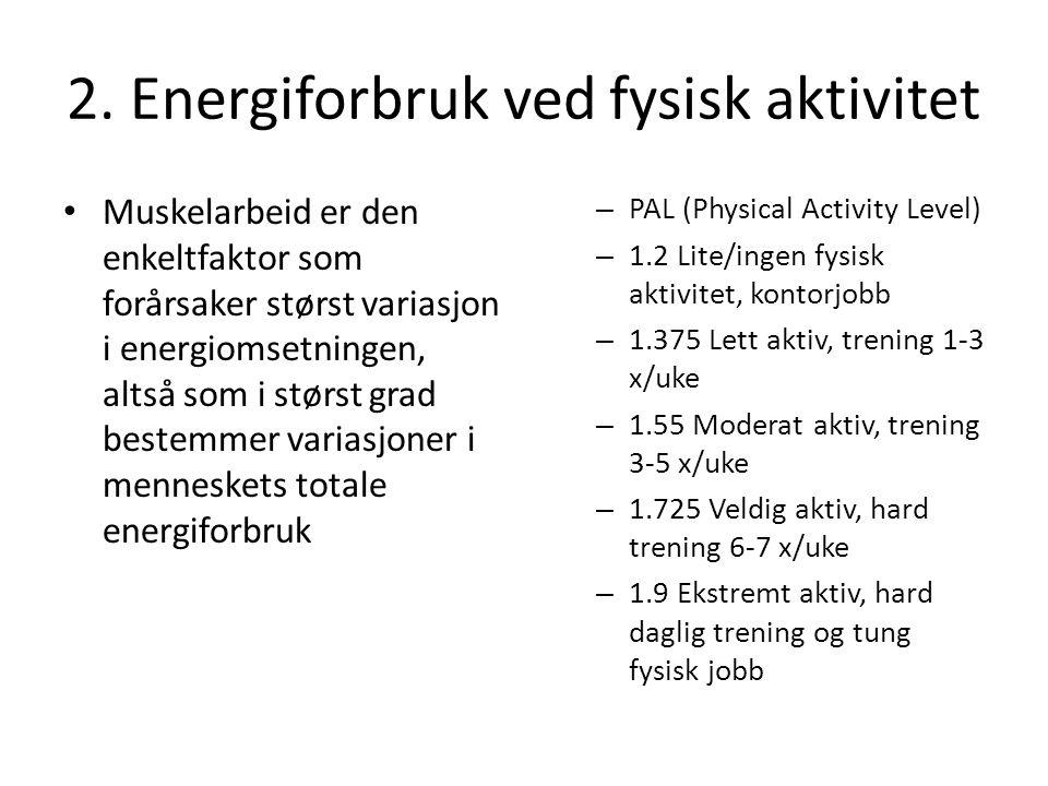 2. Energiforbruk ved fysisk aktivitet • Muskelarbeid er den enkeltfaktor som forårsaker størst variasjon i energiomsetningen, altså som i størst grad