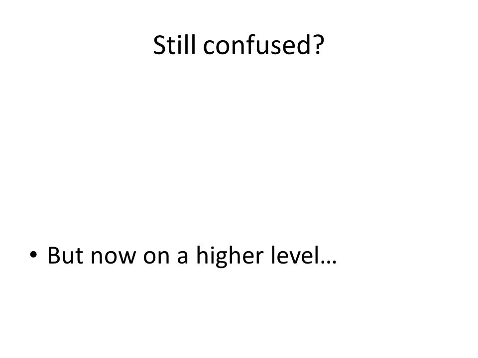 Still confused? • But now on a higher level…