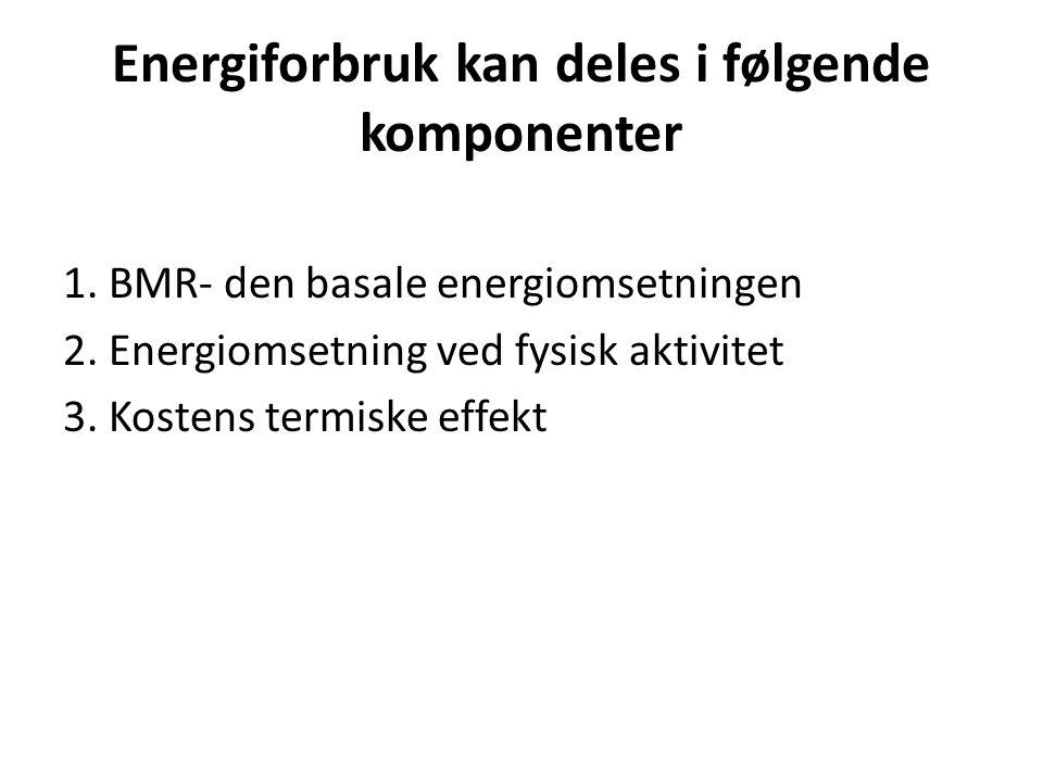 Energiforbruk kan deles i følgende komponenter 1. BMR- den basale energiomsetningen 2. Energiomsetning ved fysisk aktivitet 3. Kostens termiske effekt