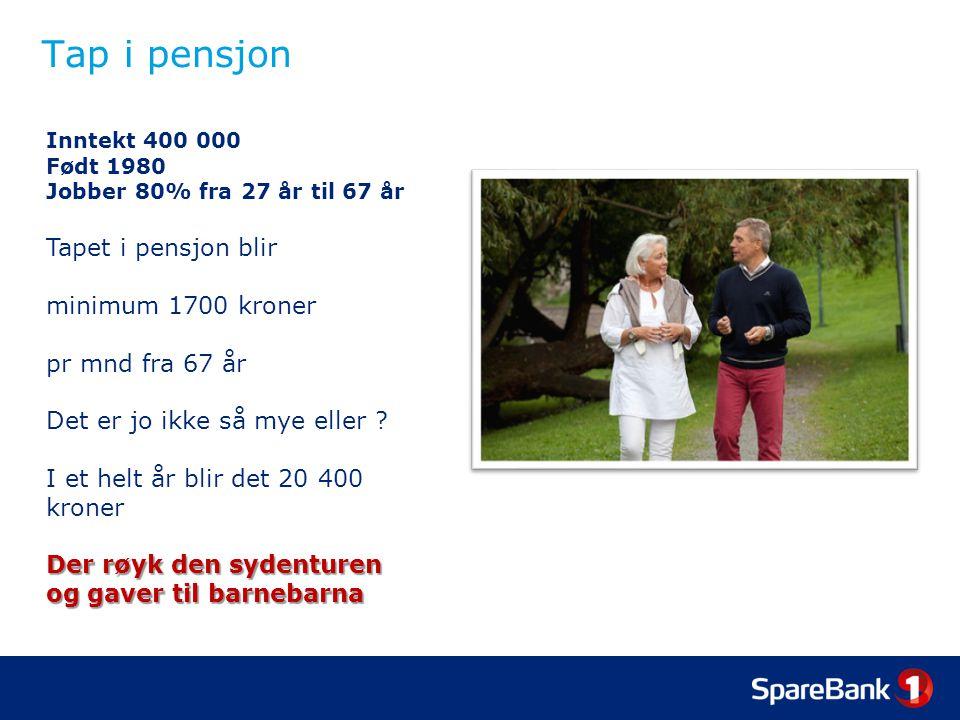 Tap i pensjon Inntekt 400 000 Født 1980 Jobber 80% fra 27 år til 67 år Tapet i pensjon blir minimum 1700 kroner pr mnd fra 67 år Det er jo ikke så mye eller .