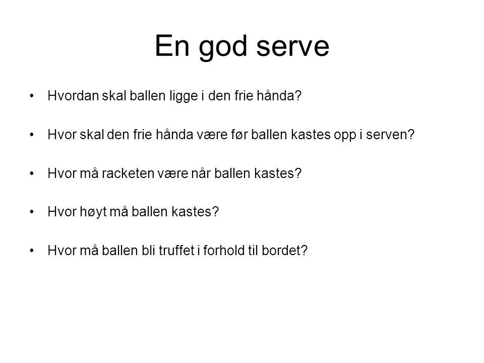 En god serve •Hvordan skal ballen ligge i den frie hånda.