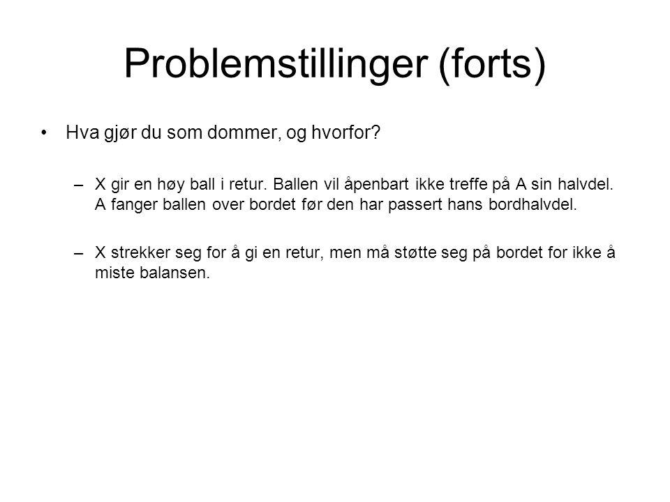 Problemstillinger (forts) •Hva gjør du som dommer, og hvorfor? –X gir en høy ball i retur. Ballen vil åpenbart ikke treffe på A sin halvdel. A fanger