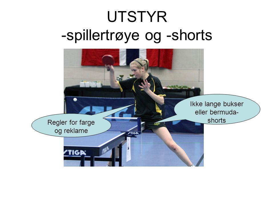 UTSTYR -spillertrøye og -shorts Regler for farge og reklame Ikke lange bukser eller bermuda- shorts