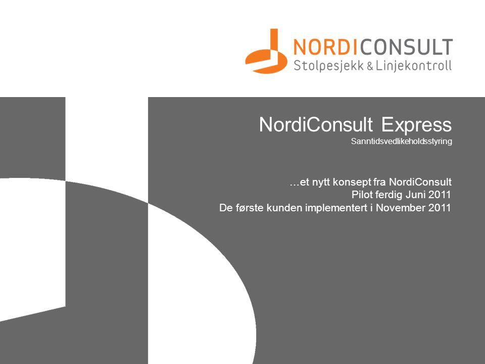 NordiConsult Express Sanntidsvedlikeholdsstyring …et nytt konsept fra NordiConsult Pilot ferdig Juni 2011 De første kunden implementert i November 201