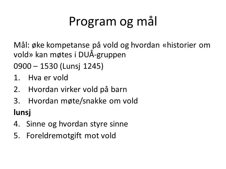 Program og mål Mål: øke kompetanse på vold og hvordan «historier om vold» kan møtes i DUÅ-gruppen 0900 – 1530 (Lunsj 1245) 1.