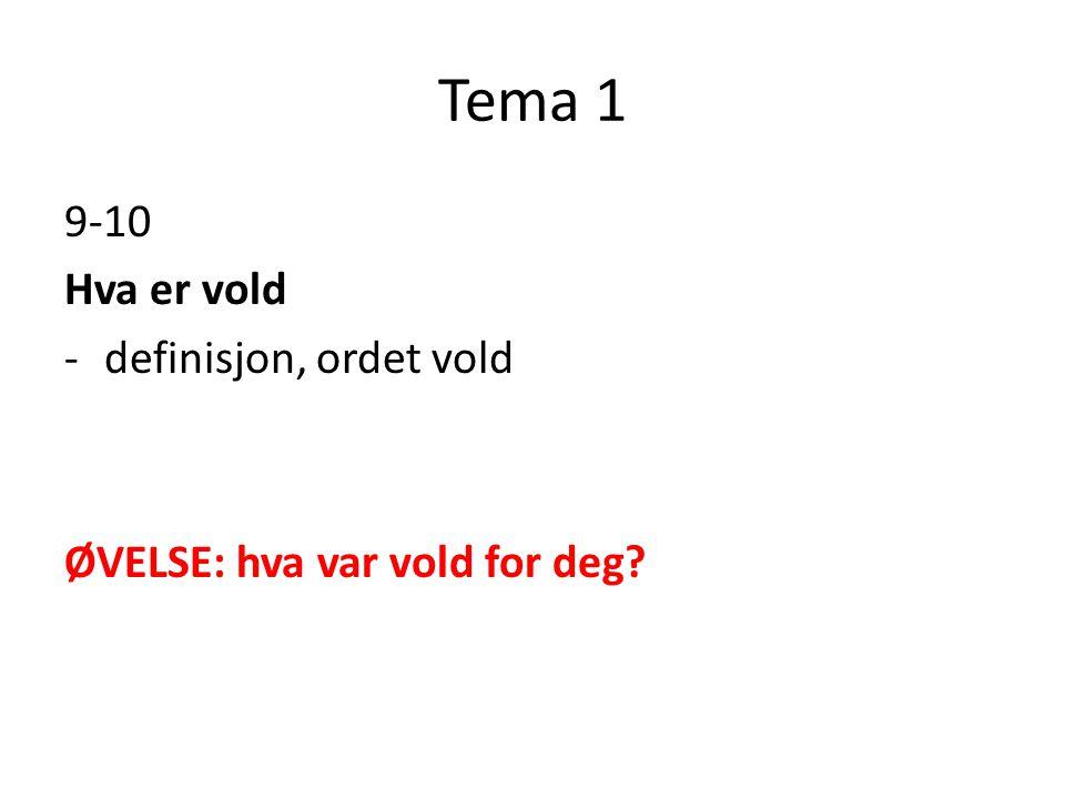 Tema 1 9-10 Hva er vold -definisjon, ordet vold ØVELSE: hva var vold for deg?