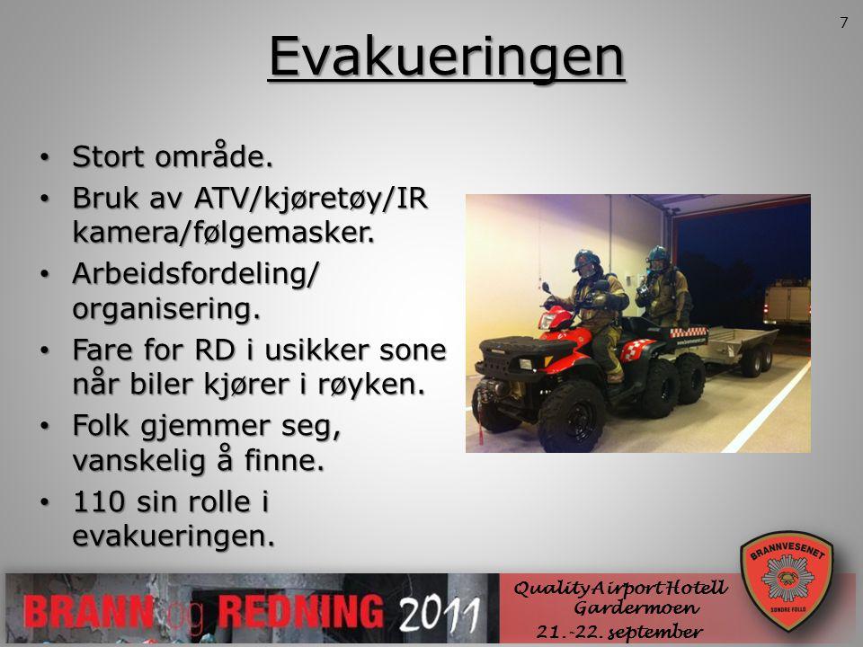 Evakueringen SØNDRE FOLLO BRANNVESEN IKS • Stort område. • Bruk av ATV/kjøretøy/IR kamera/følgemasker. • Arbeidsfordeling/ organisering. • Fare for RD