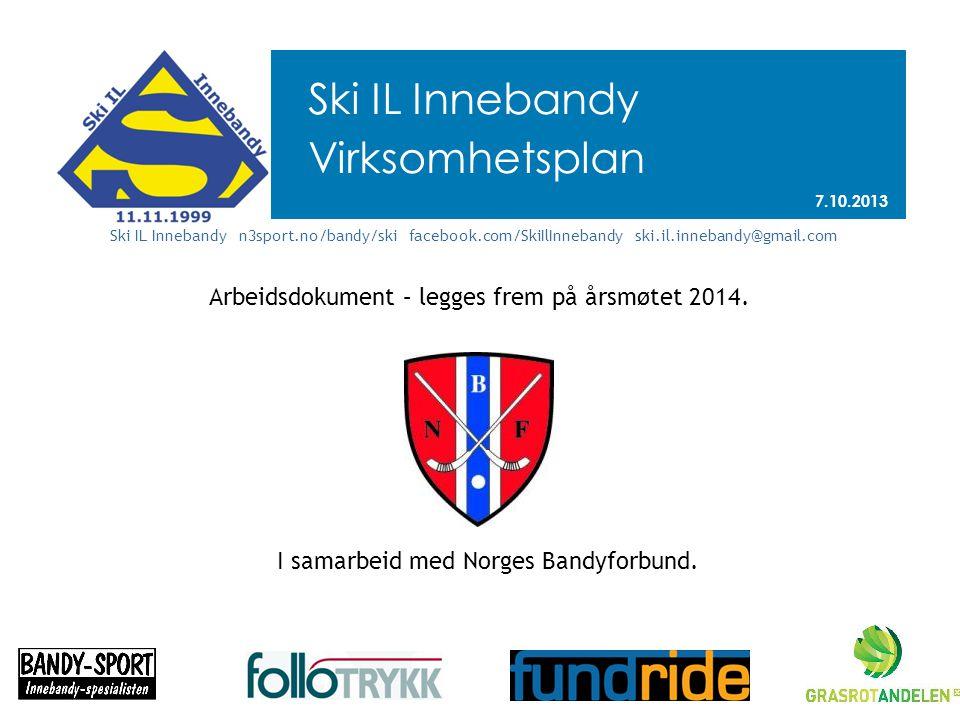 Ski IL Innebandy Virksomhetsplan 7.10.2013 Ski IL Innebandy n3sport.no/bandy/ski facebook.com/SkiIlInnebandy ski.il.innebandy@gmail.com Arbeidsdokument – legges frem på årsmøtet 2014.