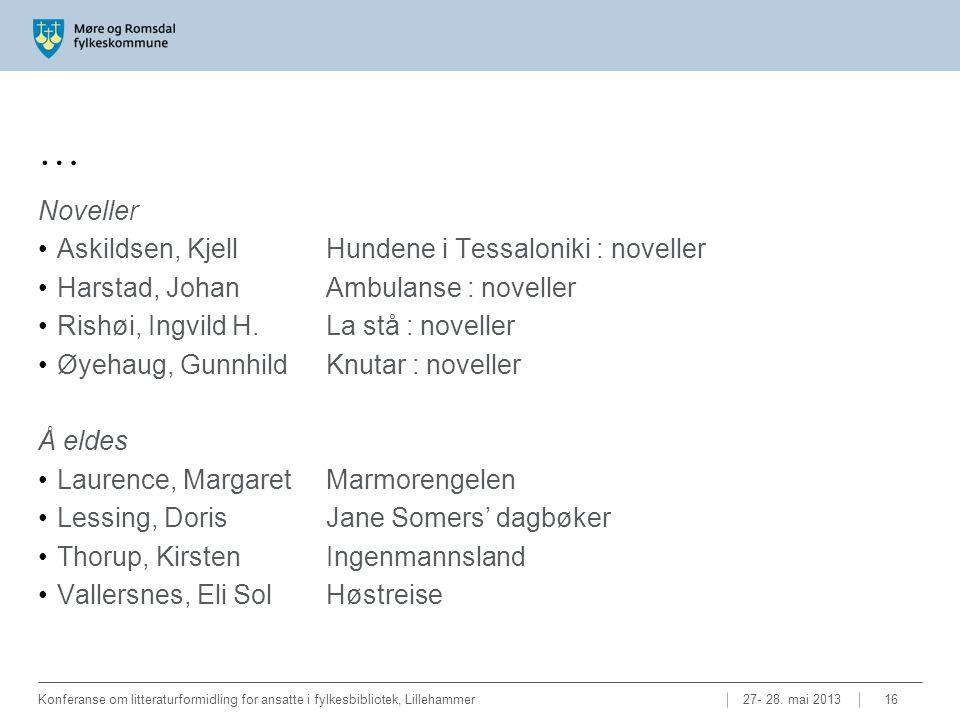 … Noveller •Askildsen, Kjell Hundene i Tessaloniki : noveller •Harstad, Johan Ambulanse : noveller •Rishøi, Ingvild H. La stå : noveller •Øyehaug, Gun