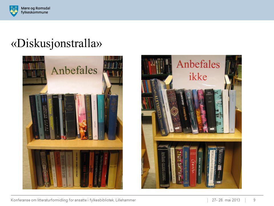 «Diskusjonstralla» 27- 28. mai 2013Konferanse om litteraturformidling for ansatte i fylkesbibliotek, Lillehammer9