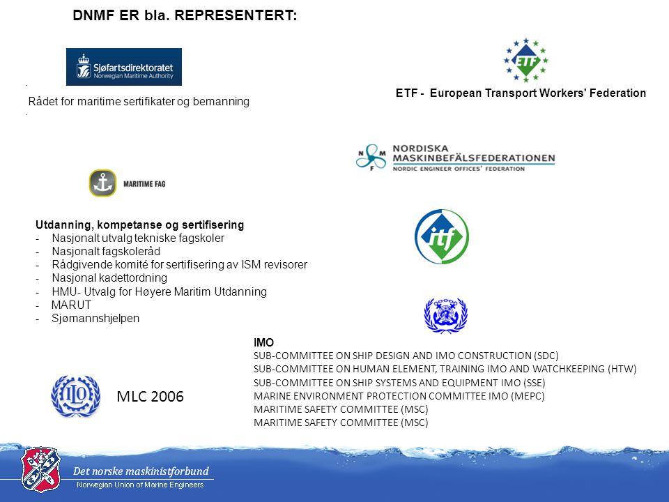 · Rådet for maritime sertifikater og bemanning · Utdanning, kompetanse og sertifisering - Nasjonalt utvalg tekniske fagskoler - Nasjonalt fagskoleråd