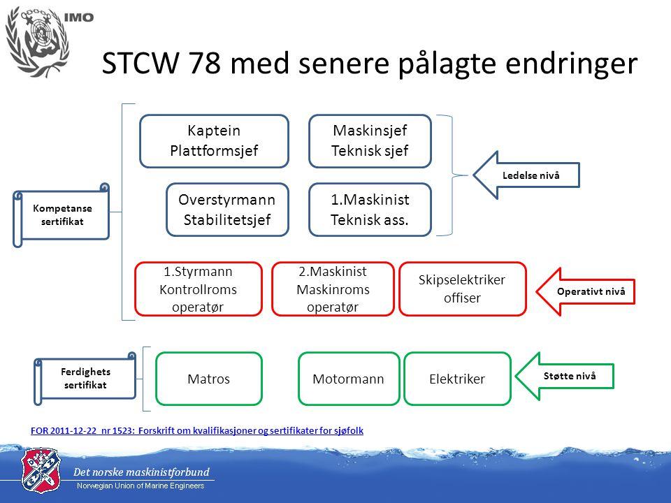 KONFERANSENS RESOLUSJON 8 FREMME AV SJØFOLKS TEKNISKE KUNNSKAP, FERDIGHETER OG PROFESJONALITET KONFERANSEN,SOM HAR VEDTATT 1995-endringene i Den internasjonale konvensjon om normer for opplæring, sertifikater og vakthold for sjøfolk (STCW), 1978, med sikte på å styrke gjennomføringen av konvensjonen og derved forbedre sjøfolks kompetanse, SOM INNSER at den totale effektiviteten i utvelgelses-, opplærings- og sertifiseringsprosesser bare kan evalueres gjennom ferdighetene, evnene og kompetansen som sjøfolk framviser i løpet av den tiden de gjør tjeneste om bord på skip, ANBEFALER at administrasjonene lager ordninger som sikrer at selskapene:.1 etablerer kriterier og prosesser for utvelgelse av personell som framviser det høyeste nivået som er praktisk mulig når det gjelder teknisk kunnskap, ferdigheter og profesjonalitet,.2 overvåker nivået som framvises av skipets personell når de utfører sine plikter,.3 oppmuntrer alle offiserer til å delta aktivt i opplæringen av juniorpersonell,.4 nøye overvåker og ofte gjennomgår progresjonen hos juniorpersonellet hva angår tilegning av kunnskaper og ferdigheter i løpet av tjenesten om bord på skip,.5 gir etterutdanning i form av repetisjon og oppdatering med passende mellomrom etter behov, og.6 treffer alle passende tiltak for å oppmuntre til stolthet i yrkesutøvelsen og profesjonalitet hos det personellet de sysselsetter.