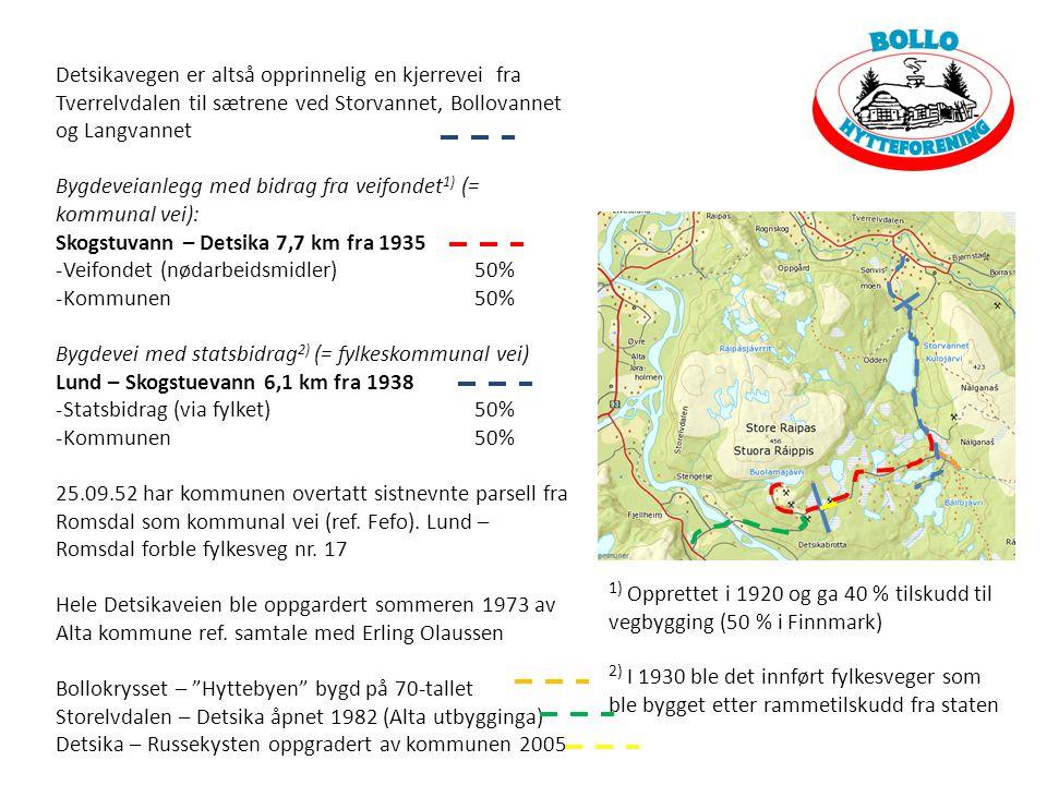 Detsikavegen er altså opprinnelig en kjerrevei fra Tverrelvdalen til sætrene ved Storvannet, Bollovannet og Langvannet Bygdeveianlegg med bidrag fra veifondet 1) (= kommunal vei): Skogstuvann – Detsika 7,7 km fra 1935 -Veifondet (nødarbeidsmidler) 50% -Kommunen50% Bygdevei med statsbidrag 2) (= fylkeskommunal vei) Lund – Skogstuevann 6,1 km fra 1938 -Statsbidrag (via fylket)50% -Kommunen50% 25.09.52 har kommunen overtatt sistnevnte parsell fra Romsdal som kommunal vei (ref.