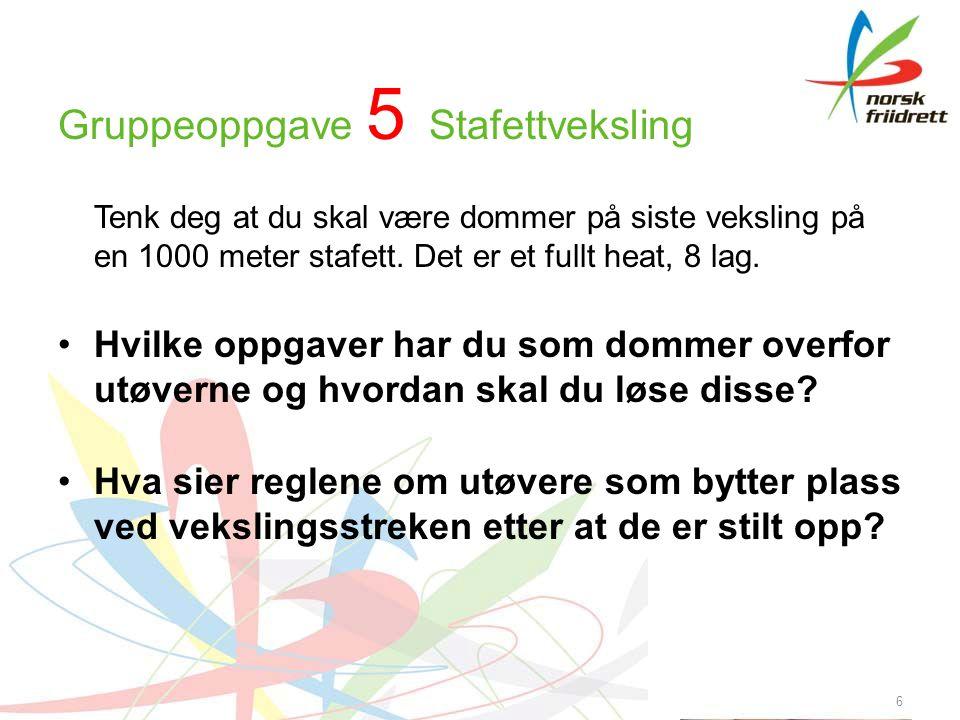 Gruppeoppgave 5 Stafettveksling Tenk deg at du skal være dommer på siste veksling på en 1000 meter stafett.
