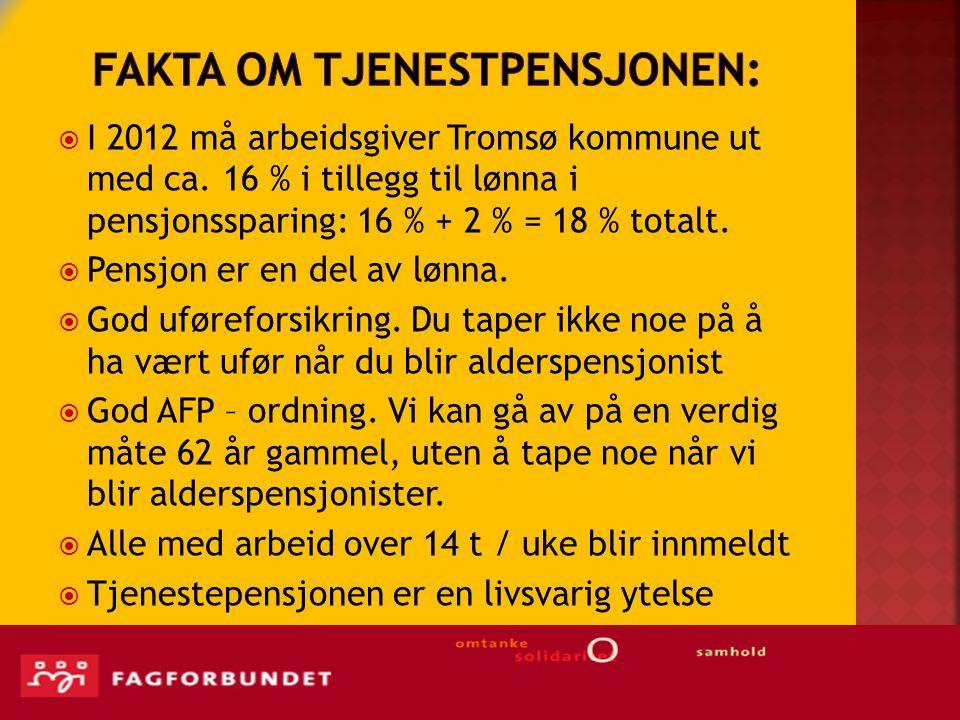  I 2012 må arbeidsgiver Tromsø kommune ut med ca.