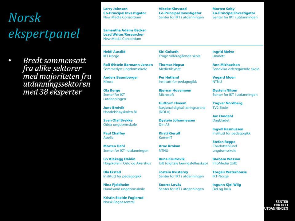 Norsk ekspertpanel • Bredt sammensatt fra ulike sektorer med majoriteten fra utdanningssektoren med 38 eksperter