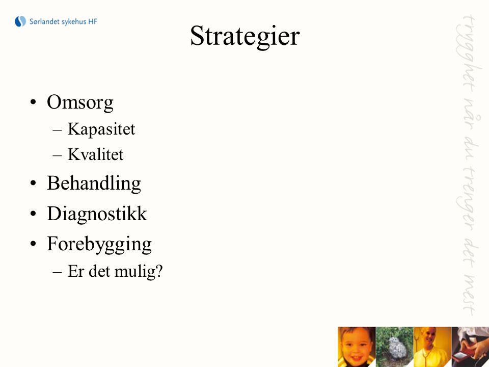 Strategier •Omsorg –Kapasitet –Kvalitet •Behandling •Diagnostikk •Forebygging –Er det mulig?