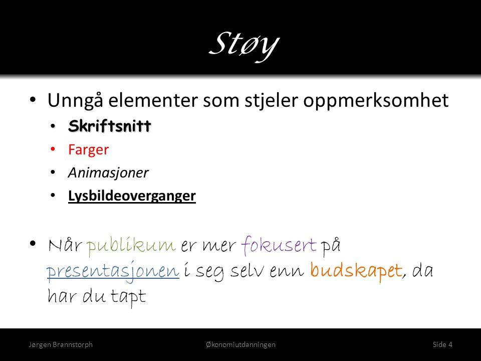Støy Jørgen BrannstorphØkonomiutdanningenSide 4 • Unngå elementer som stjeler oppmerksomhet • Skriftsnitt • Farger • Animasjoner • Lysbildeoverganger