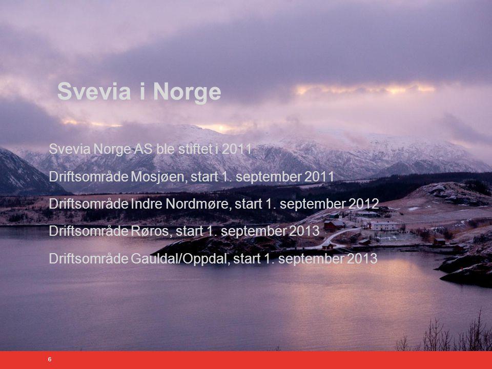 6 Svevia i Norge Svevia Norge AS ble stiftet i 2011 Driftsområde Mosjøen, start 1.