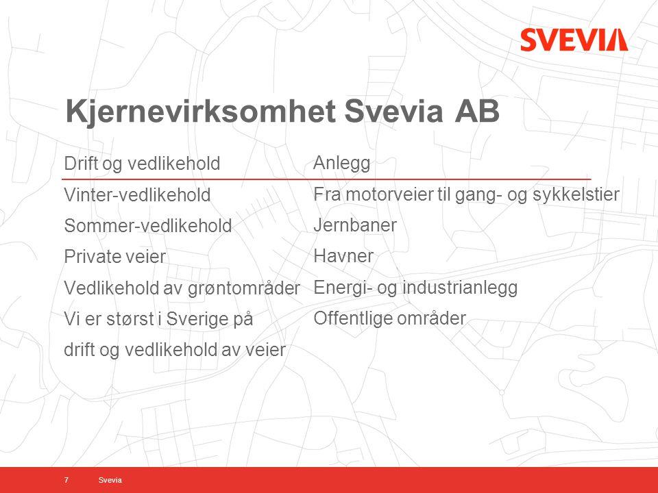 Kjernevirksomhet Svevia AB Drift og vedlikehold Vinter-vedlikehold Sommer-vedlikehold Private veier Vedlikehold av grøntområder Vi er størst i Sverige på drift og vedlikehold av veier 7 Anlegg Fra motorveier til gang- og sykkelstier Jernbaner Havner Energi- og industrianlegg Offentlige områder Svevia