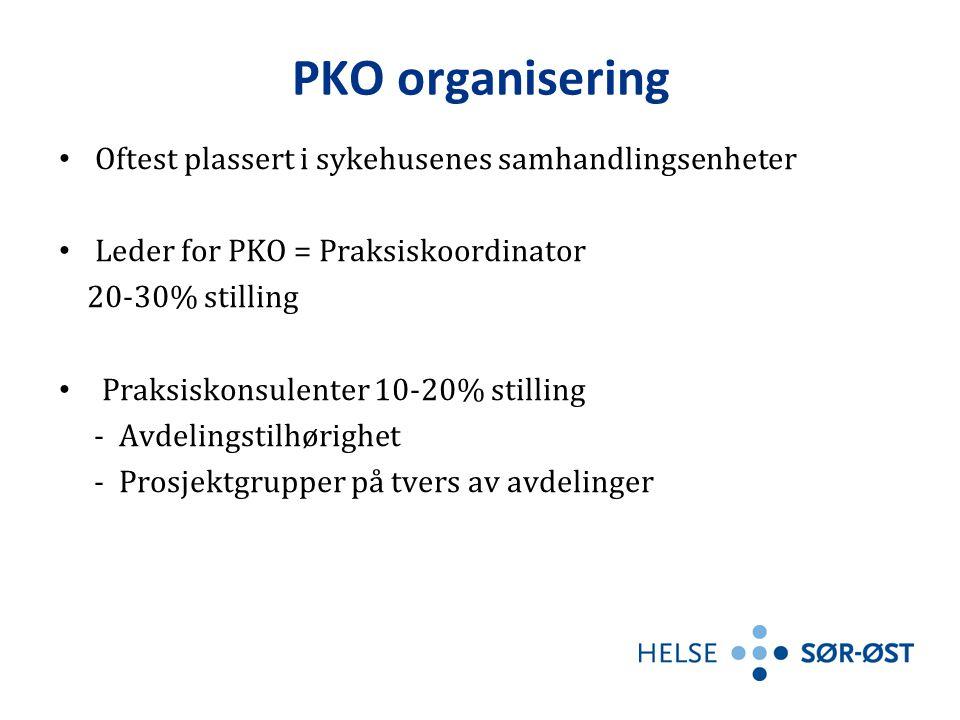PKO organisering • Oftest plassert i sykehusenes samhandlingsenheter • Leder for PKO = Praksiskoordinator 20-30% stilling • Praksiskonsulenter 10-20% stilling - Avdelingstilhørighet - Prosjektgrupper på tvers av avdelinger