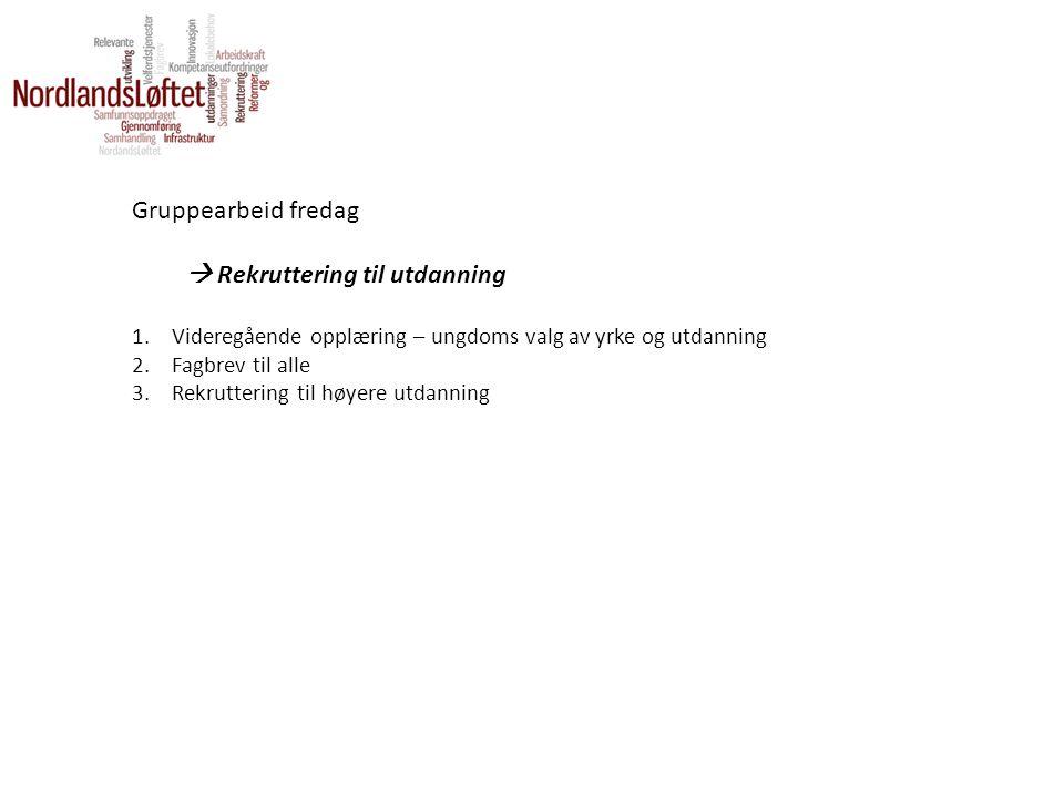Gruppearbeid fredag  Rekruttering til utdanning 1.Videregående opplæring – ungdoms valg av yrke og utdanning 2.Fagbrev til alle 3.Rekruttering til hø