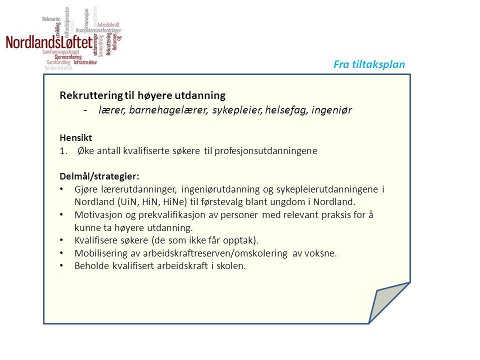Rekruttering til høyere utdanning -lærer, barnehagelærer, sykepleier, helsefag, ingeniør Hensikt 1.Øke antall kvalifiserte søkere til profesjonsutdanningene Delmål/strategier: • Gjøre lærerutdanninger, ingeniørutdanning og sykepleierutdanningene i Nordland (UiN, HiN, HiNe) til førstevalg blant ungdom i Nordland.