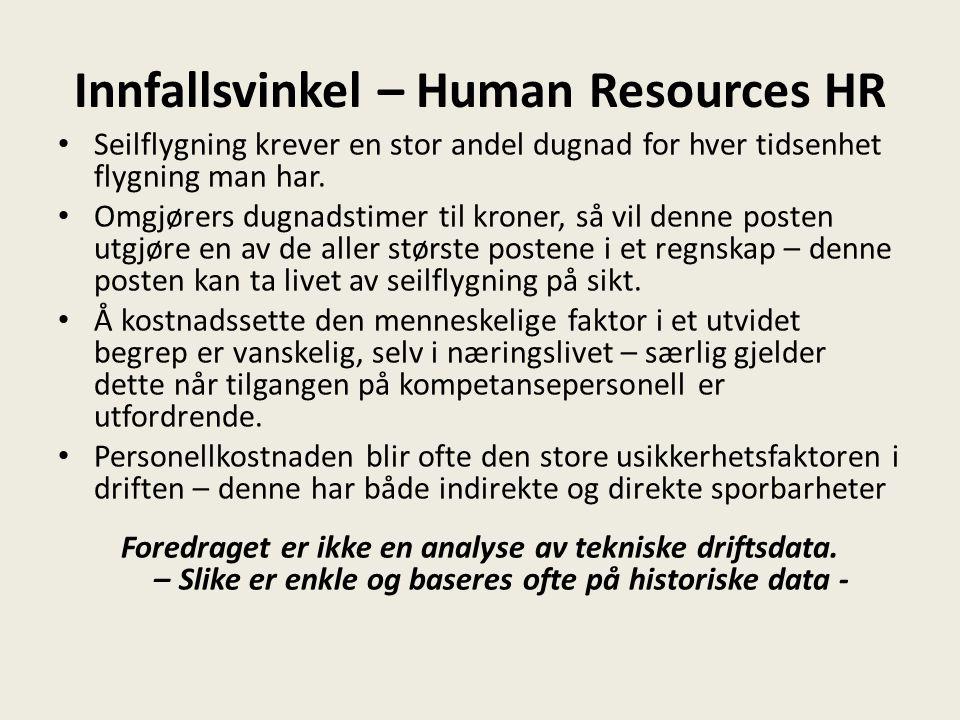Innfallsvinkel – Human Resources HR • Seilflygning krever en stor andel dugnad for hver tidsenhet flygning man har.