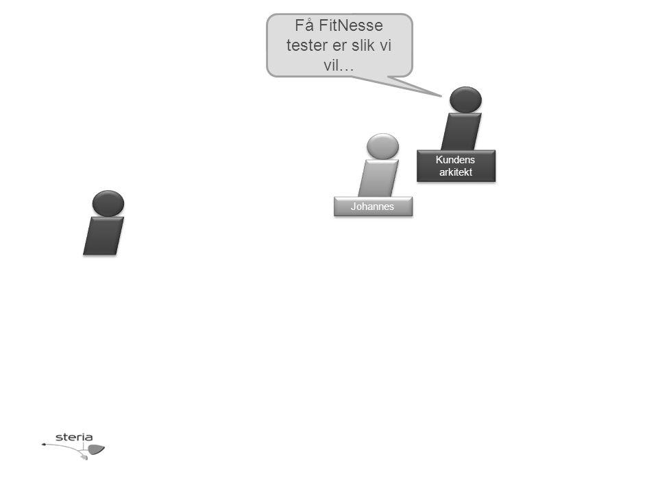 Kundens arkitekt Johannes Få FitNesse tester er slik vi vil…