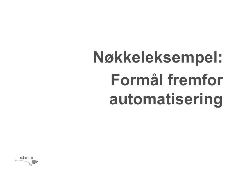 Nøkkeleksempel: Formål fremfor automatisering