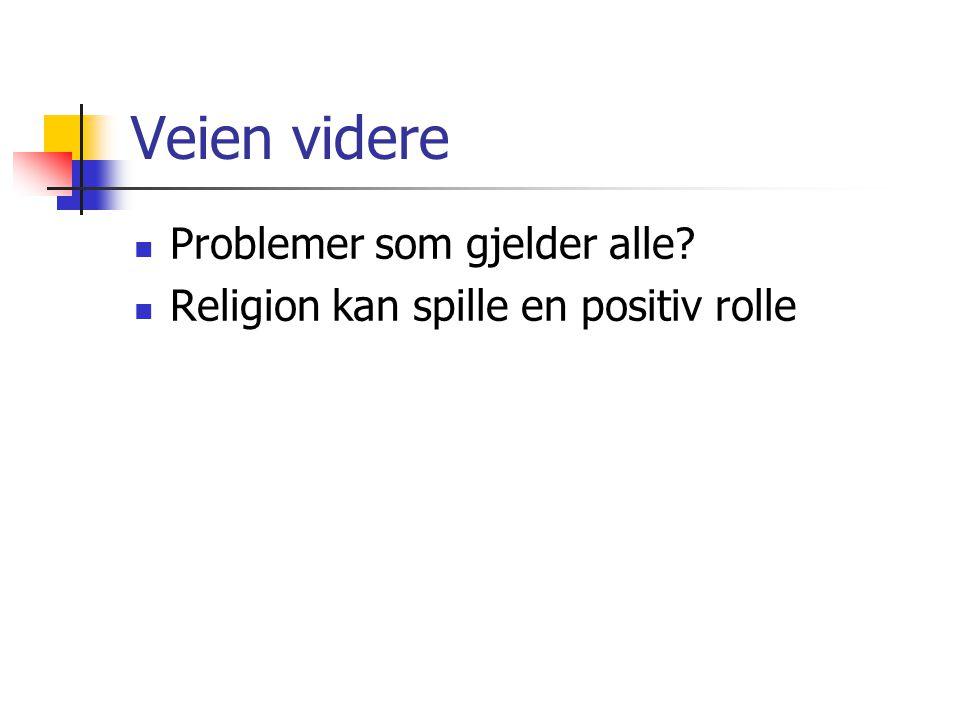 Veien videre  Problemer som gjelder alle?  Religion kan spille en positiv rolle